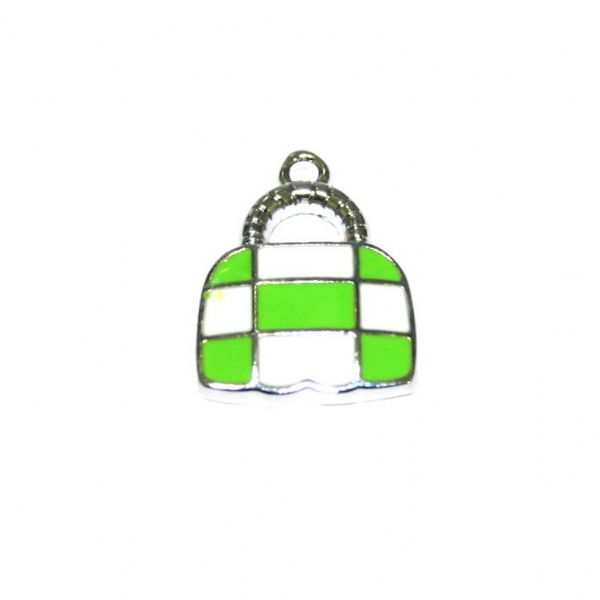 1 x 21*16mm rhodium plated cute handbag with green / white checks enamel charm - SD03 - CHE1223